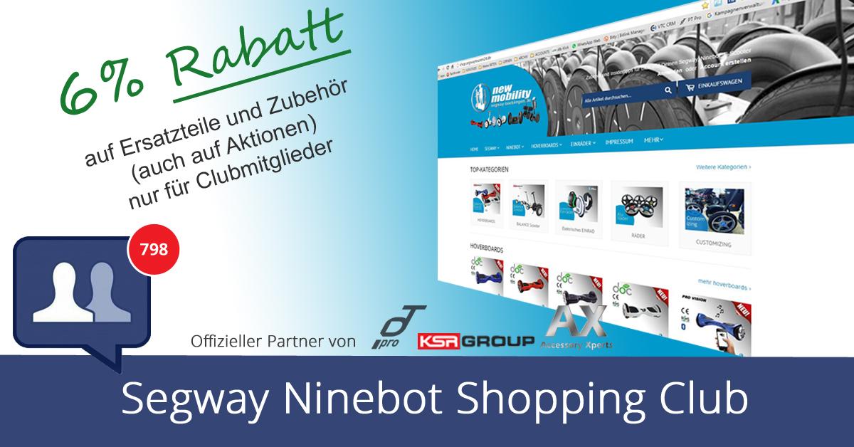 """Spare beim Einkauf von Ersatzteilen und Zubehör im """"Segway Ninebot Shopping Club"""""""