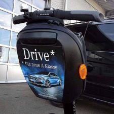 Autohaus-Events mit Segway-Parcours, hier wurde der Segway anlässlich der Einführung der neuen A-Klasse von Mercedes-Benz beklebt